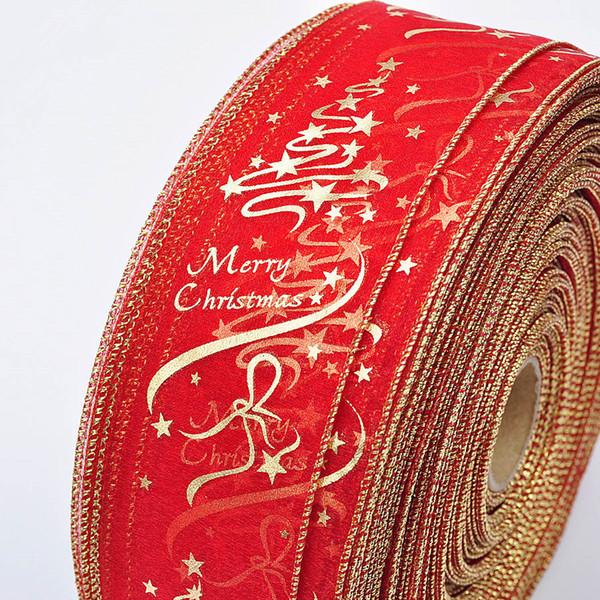 Noel ağacı süsleme şerit yazdırmak 2019 Noel ağacı süsleme hediye paketleme 6.3x200cm / rulo kırmızı ve altın