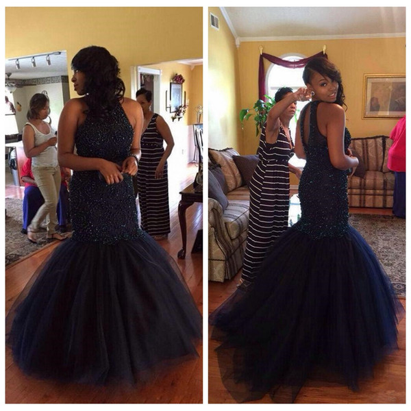 Dark Navy Beading Mermaid Prom Dresses High Neck Tulle Sexy Back African Black Girls Formal Evening Pageant Gowns
