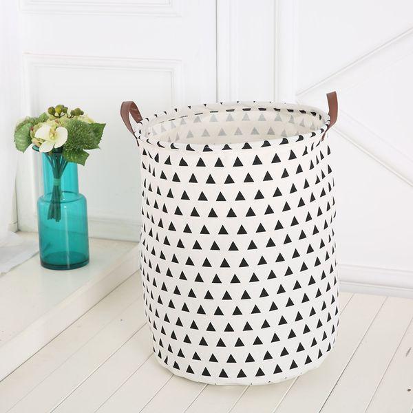 5pcs/lot Nordic Style Cotton Linen Dirty Clothes Storage Barrel Laundry Basket Foldable Kids Toys Organizer 40*50cm