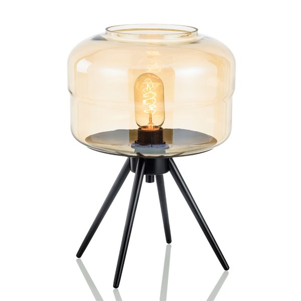 Europe Table Lamp Smoke E27 Glass Shades Metal Desk Light Amber Gray Color Shades office desk lamps Table Deco For Bedroom E112