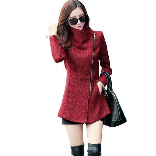 Yeni Avrupa 2018 Sonbahar Kış kadın Mizaç Yün Ceketler Coats Kadın Casual Giyim Moda Kadınlar Ince Ceketler CoatsY1882402