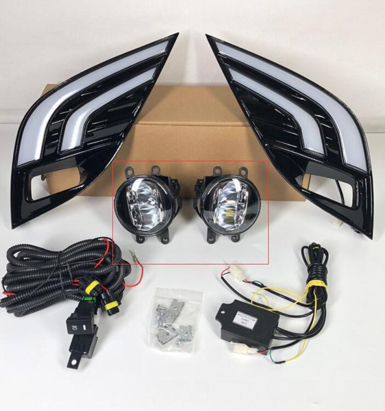 2pcs For Toyota Camry 2018 XSE SE Car LED Daytime Running Light White+Yellow Drive Lamp