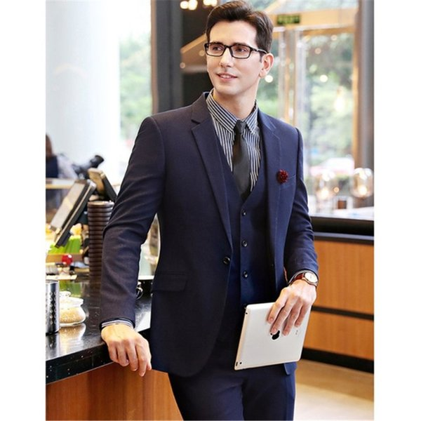Mens Suits Jacket Vest Pants Suits Business Formal Wedding Party High Quality 3 Piece Suits Set Navy Blue sweater men