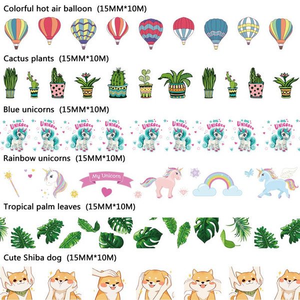 NEW 10m Decorative print Washi Tape Dog Cactus unicorn hot air balloon for Craft Masking Tape Adhesive Tapes Sticky Paper 2016