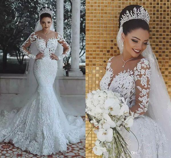 2019 Luxury Arabic Sheer Long Sleeves Lace Mermaid Wedding Dresses Tulle Applique Beaded Sweep Train Wedding Bridal Gowns BA9863