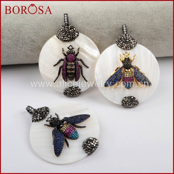 BOROSA Cool White Round Shell Pendant with Micro Pave Insects Bugs Pests Handcrafted Druzy Pendants Jewelry for Women JAB827
