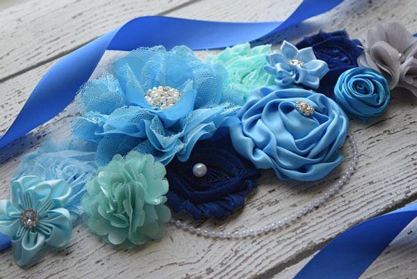 European And American High-end Elegant Handmade Flowers, Belts, High Collocation, Blue Belt, Bridal Girdle, Bride, Pregnant Woma
