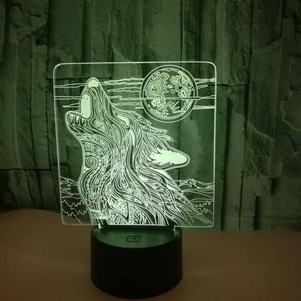 Teen Wolf Animal Illusion Design Lampe En Coloré Décoration Led Table 3d Dropshipping Veilleuses De Acheter Lumières Chambre Maison Gros uOPkXZi