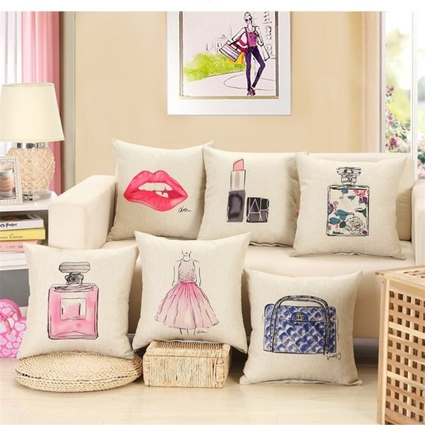 Red Lips Pillow Case No Core Lipstick Perfume Bottle Cotton Linen Home Sofa Decor Car Seat Cushion Cover Bedding Supplies 5 5zm bb