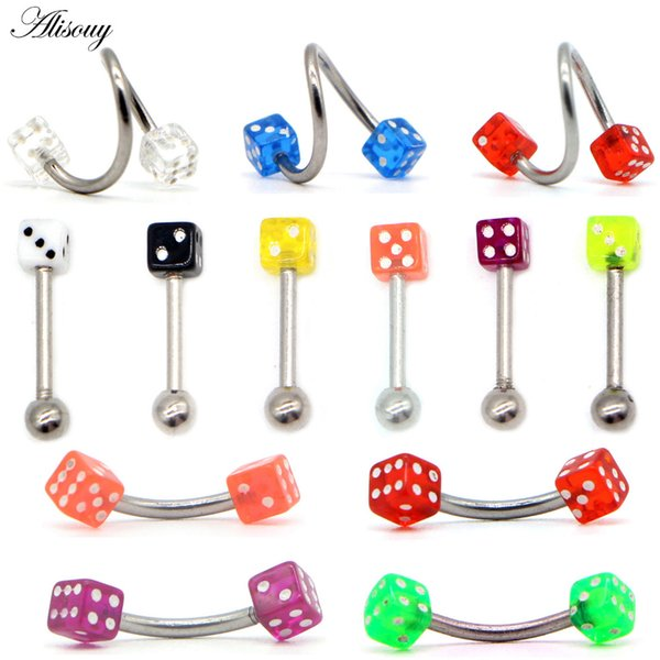 Alisouy 1pc Surgical Steel Acrylic Piercings Dice Tounge Rings Bars Barbell Eyebrow Labret Lip Nose Rings Piercing Body Jewelry