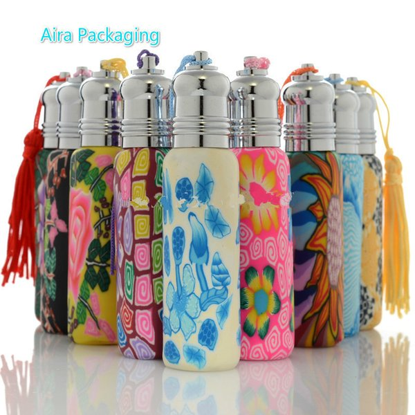 10ML Roll On Bottle Empty Polymer Clay Essential Oil Packaging Portable Elegant Roller Perfume Refillable Bottles 20pcs/Lot