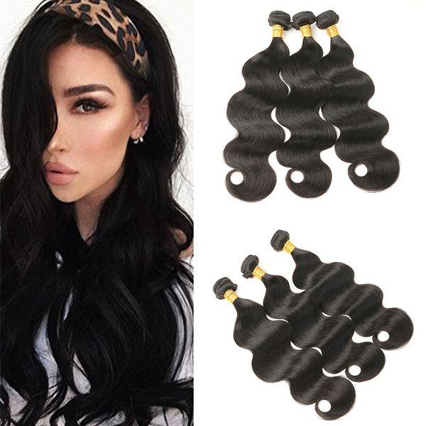 Indian Body Wave Human Hair Bundles 3pcs /lot Unprocessed Virgin Hair Extensions Natural Wave 100(+/-5)g/pc Free Shipping
