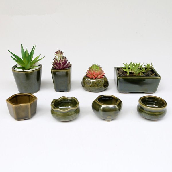 Desktop 8pc /Set Simple Shape Flower Pot For Succulents Fleshy Plants Flowerpot Ceramic Small Mini Home /Garden /Office Decoration