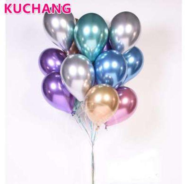 50 adet 12 inç Lateks Krom Altın Gümüş Düğün Bebek Duş Doğum Günü Karnaval Parti Dekor Metalik Balonlar Malzemeleri Helyum Şekeri