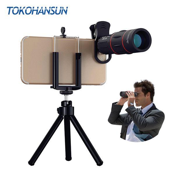 TOKOHANSUN 18X Telescope Zoom lens Monocular Mobile Phone camera Lens for Smartphones for Camping hunting Sports
