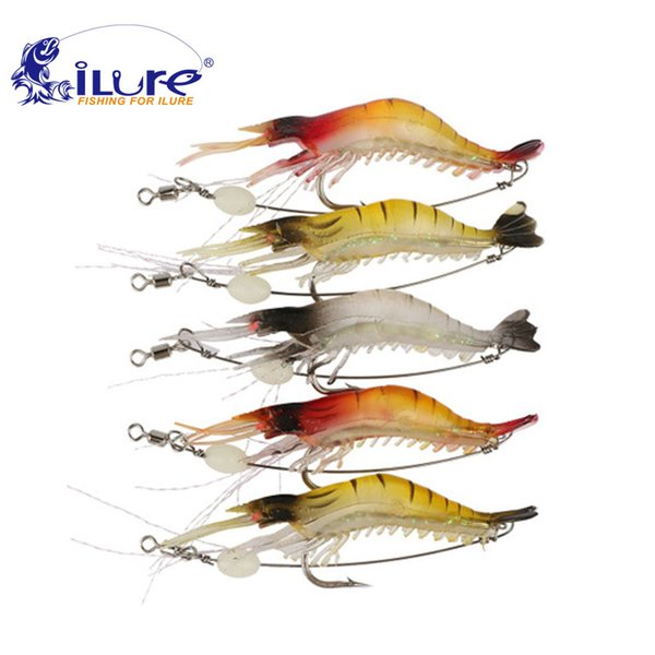 4 pcs/lot 9cm/5g Soft Shrimp Fishing Lure Sharp Single Hooks Soft lure Realistic Grass Shrimp Artificial Lure pesca