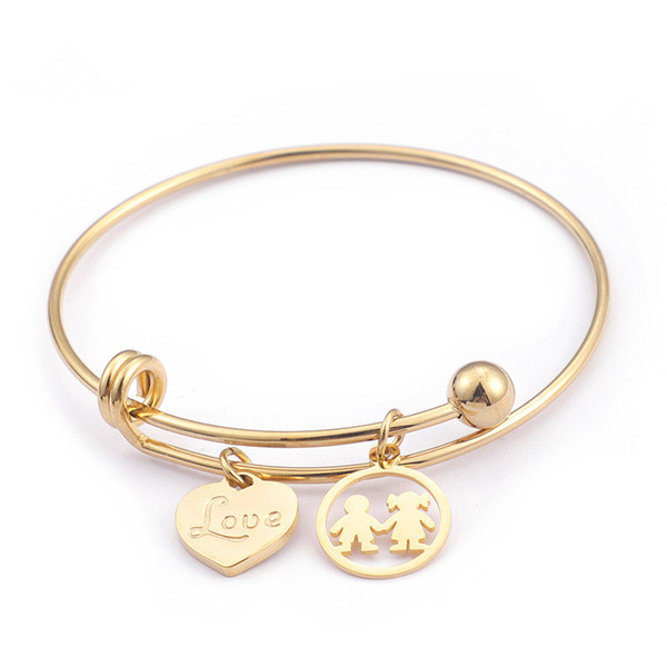 Fashion Stainless Steel LOVE Heart Bangles 68mm Women Cartoon Boy Girl Charm Bracelet & Bangle Jewelry Gifts