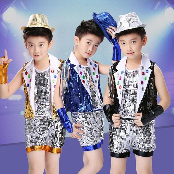 Jungen Pailletten Ballroom Jazz Hip Hop Dance Wettbewerb Kostüm Weste Shorts hosen Kind Cheerleader Tanzen Kleidung Bühne tragen anzug