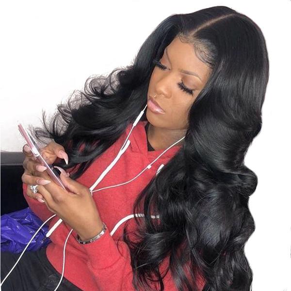 Peluca de encaje de cabello humano 360 con pliegues naturales con línea de cabello Onda del cuerpo Virgen peruana 360 Pelucas frontales de encaje completo para mujeres negras