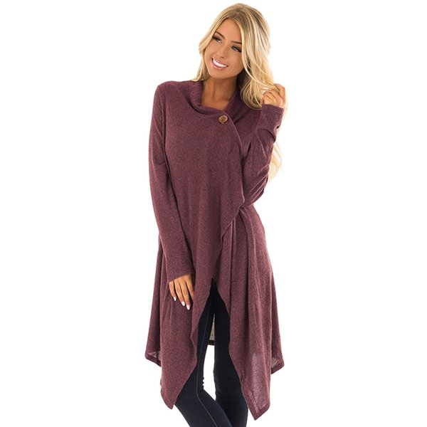 2018 autumn and winter women cardigan long capes knitted button lapel neck long sleeve asymmetrical knee length lady casual outwear
