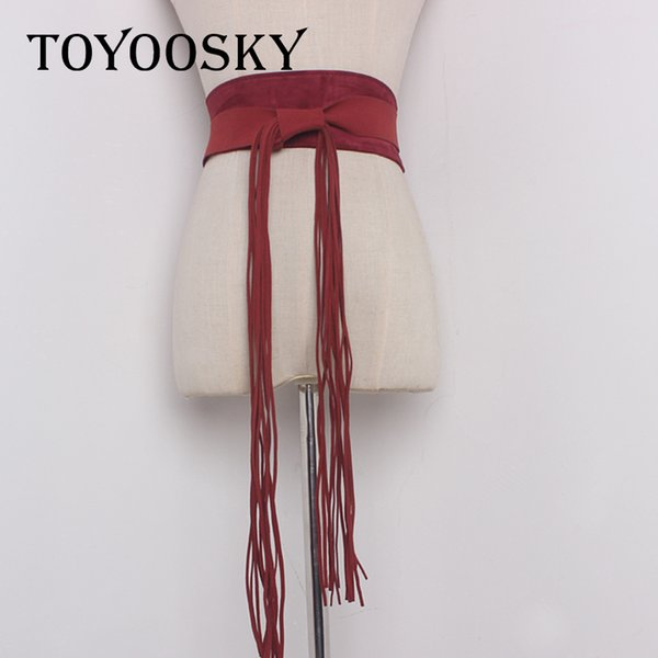 Luxury female belts for women harajuku Simple Super Wide woman belt with tassel trap jeans Dress Wide High quality