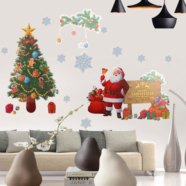 2018 latest listing Christmas decorations stickers, Santa Claus snowflake glass stickers, Christmas essentials, free shipping