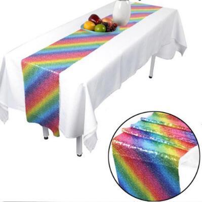 Regenbogen Tischläufer Einhorn Pailletten unter dem Motto Party Dekoration Polyster Tischdecke Decke Tischdecke für Weihnachten CCA10555 10er