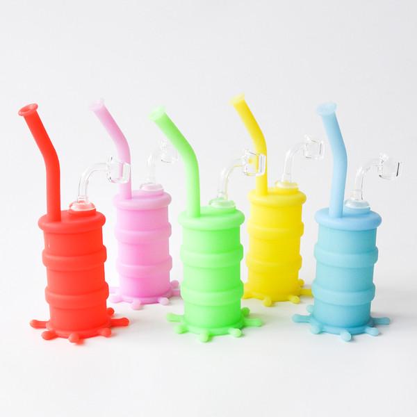 Venta caliente 8,26 pulgadas Glow In Dark Silicum Drum Tubería de agua con 4 mm de cuarzo banger vidrio tubo de agua silicona bongs shiping libre
