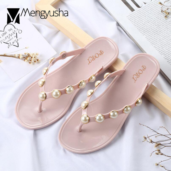 big pearl decoration flip flops women Bohemian black pink beach sandals  outdoor rivets slippers women jelly sandalias mujer c677 896752b19a94