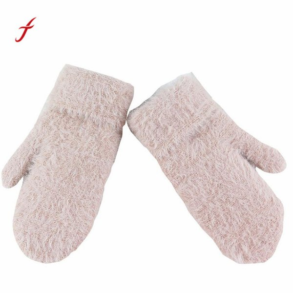 Female Gloves Causal Wrist 30ft Winter Warm Women Glove Knitted Mittens Plush Thick Warm Womens Mittens Sarung tangan#W