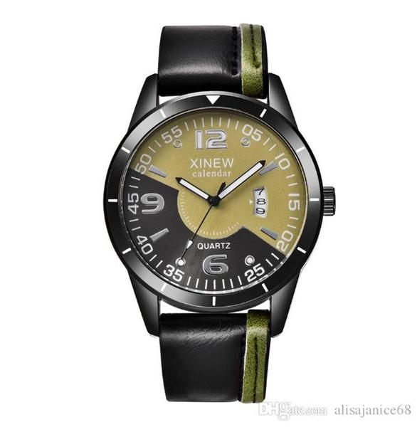 Top Selling 42mm Zifferblatt Lederband automatische Datum beiläufige Quarzuhr für Herren männlichen Geschenk Armbanduhr Leben Marke männliche Uhr