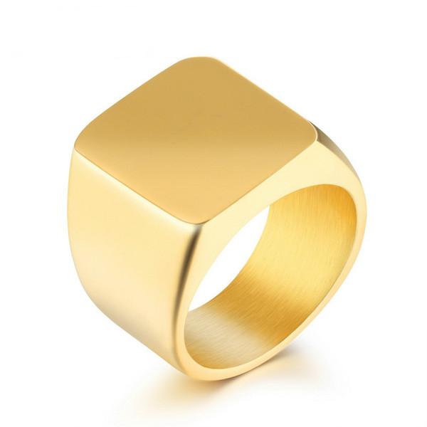 Men's Signet Ring Gold Color Black/White High Polished Engravable Punk Style Stainless Steel 19 MM Width Band For Men GJ525