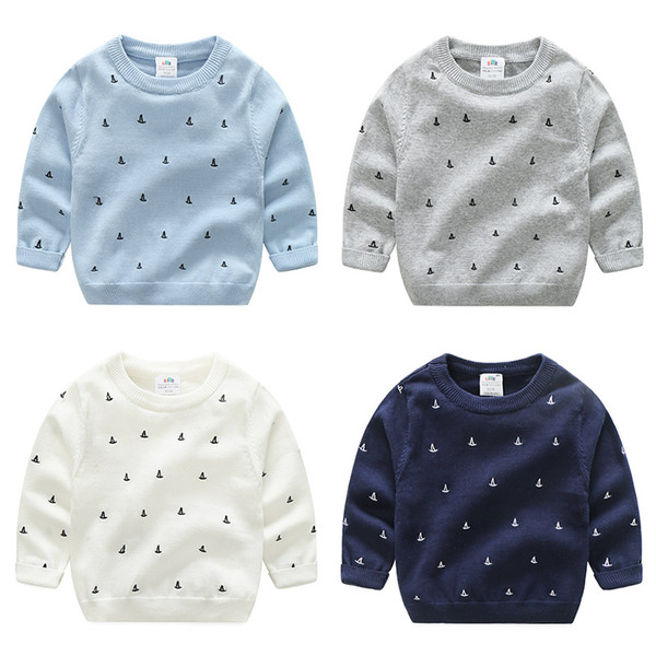 Spring Baby Boy Top Embroidery Sailing Toddler Kids Full Sleeve Fashion Sweatshirt Boys Clothes Neck Knit Sweater