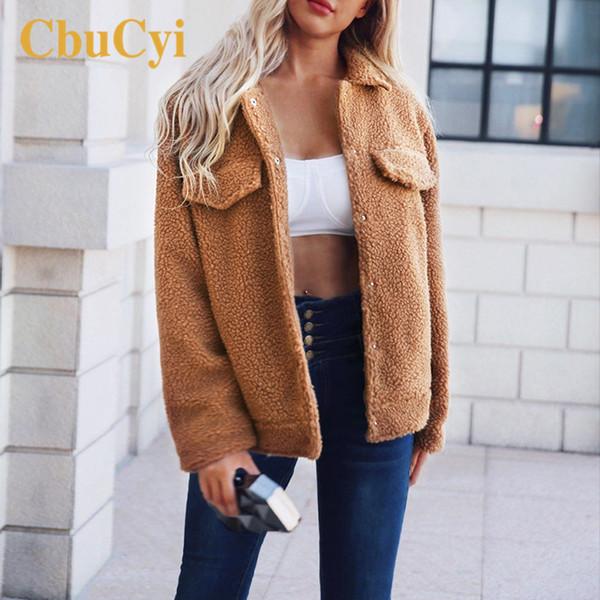CbuCyi Осень Зима Женщины Искусственного Меха Пальто Плюс Размер Мода Тонкий Меховые Куртки Пальто Женщин Плюшевые Пальто Старинные Случайные Пальто