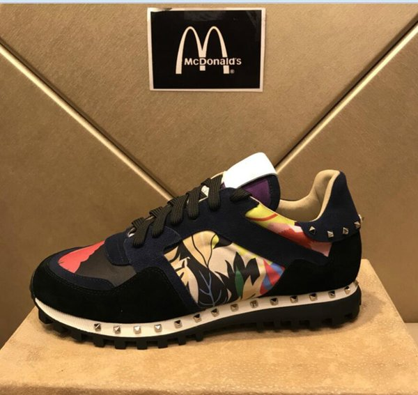 dba3db9e6bf2c Garavani Camouflage Rockrunner Trainer Lace Sneaker Fabric Canvas Leather  Outdoor Sneakers Casual Shoes For Flat Feet