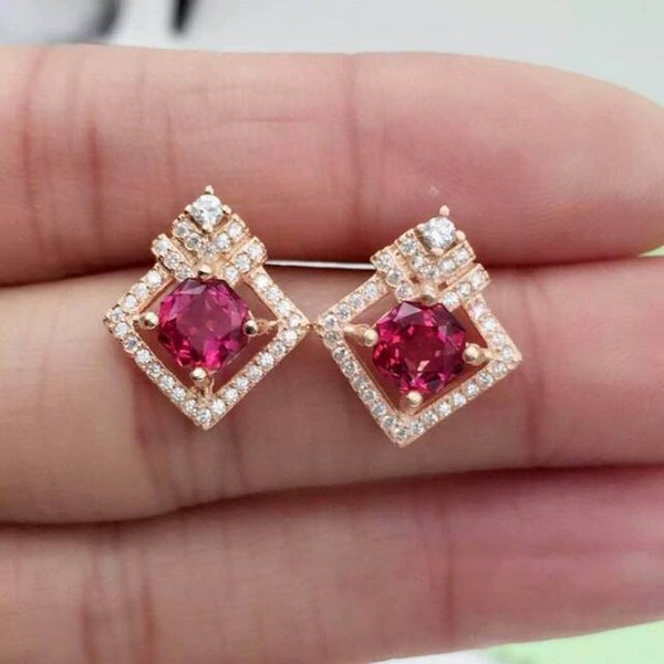 Fidelity natural 6mm pink topaz s925 sterling silver stud earrings fashion diamond fine jewelry for women party Natural gemstone S923