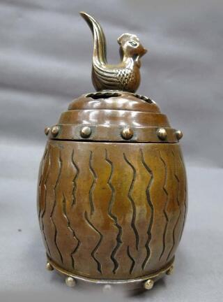 DS China brass censer sculpture fine copper chicken bucket Incense Burner Statue