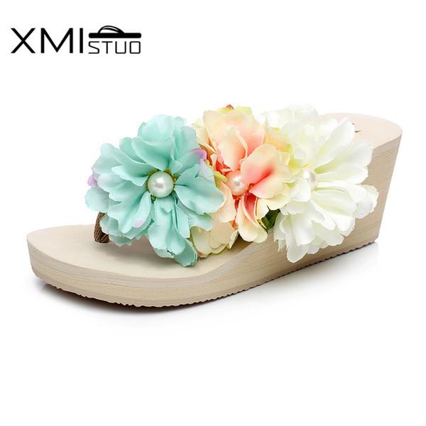 XMISTUO Summer Women Beach Bohemia Flip Flops Slippers Soft Slides 7CM High-heel Korean House Girls Flower Slippers XM12019