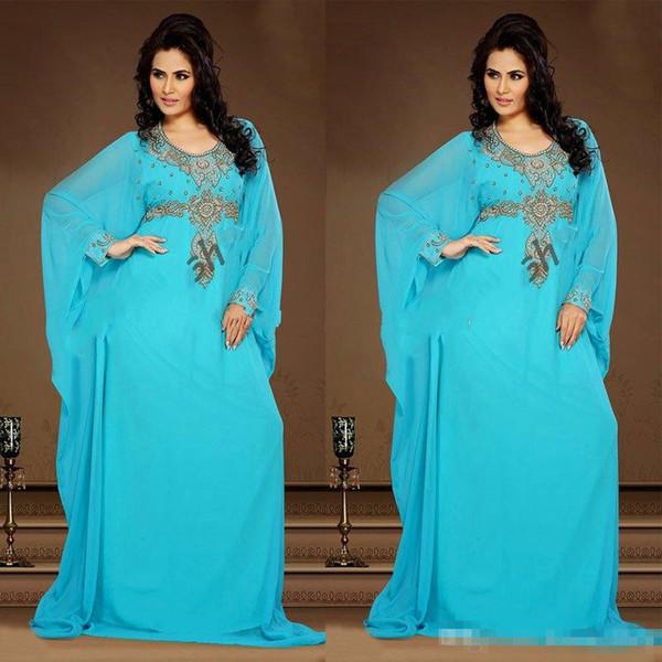 Azul 2018 Vestidos de noche baratos Vestido de gasa Kaftan Dubai Arabian Rebordear Mangas largas Madre musulmana cabida de la novia Vestidos Tallas grandes