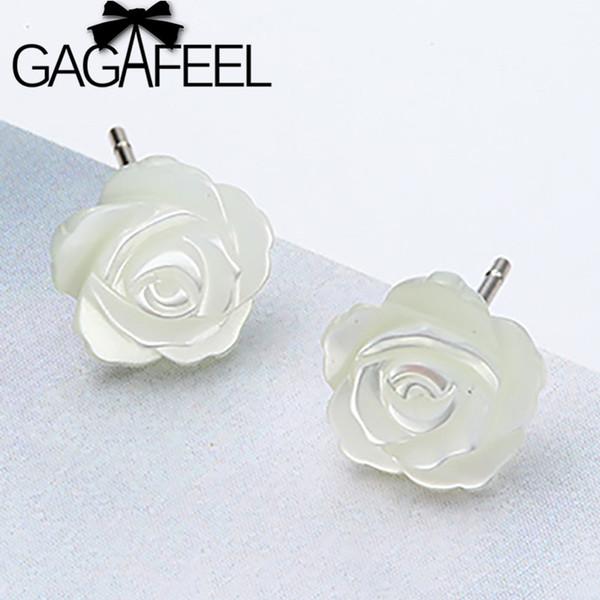 GAGAFEEL Romantic 925 Sterling Silver Camellia Stud Pendientes Flor Blanca Esmalte Shell Pendientes para Las Mujeres Regalo de La Joyería