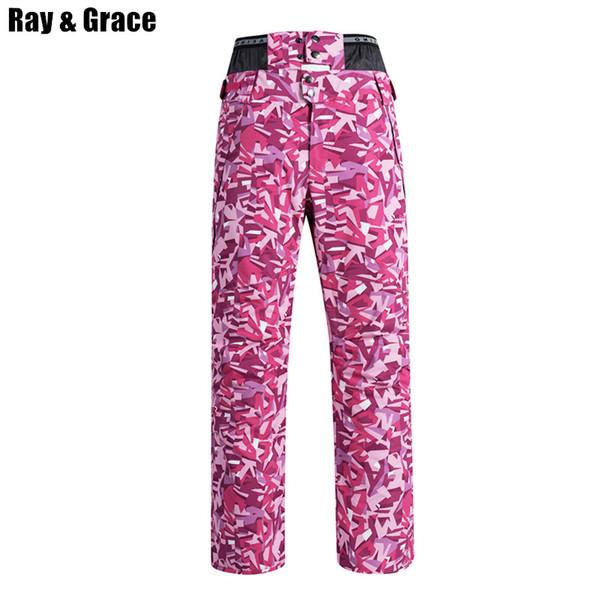 RAY GRACE Pantalones de nieve profesionales de alta calidad para las mujeres Pantalones deportivos de invierno al aire libre impermeable a prueba de viento espesar pantalones cálidos