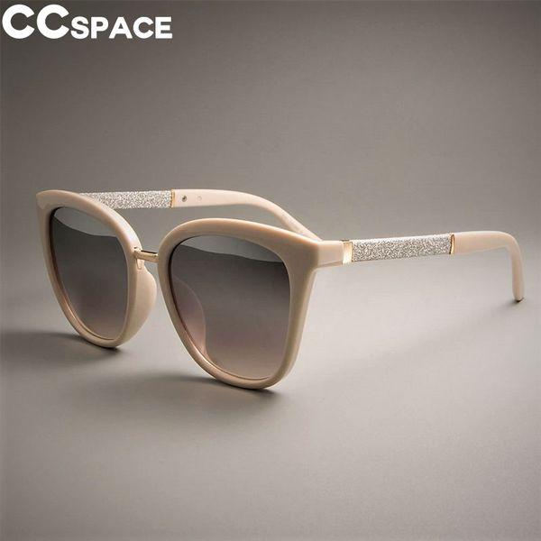 Ladies Square Glitter Sunglasses For Women Cat Eye Beige Frames Brand Designer Eyewear UV Protection Glasses 45074