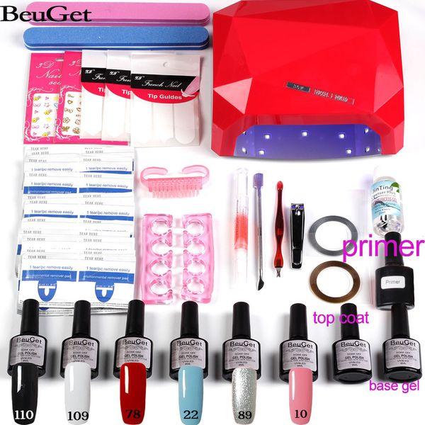 manicure kit gel nail polish set & 6W/24W/36W/48W UV lamp nail cutter pusher Decal top base gel set kit for tools
