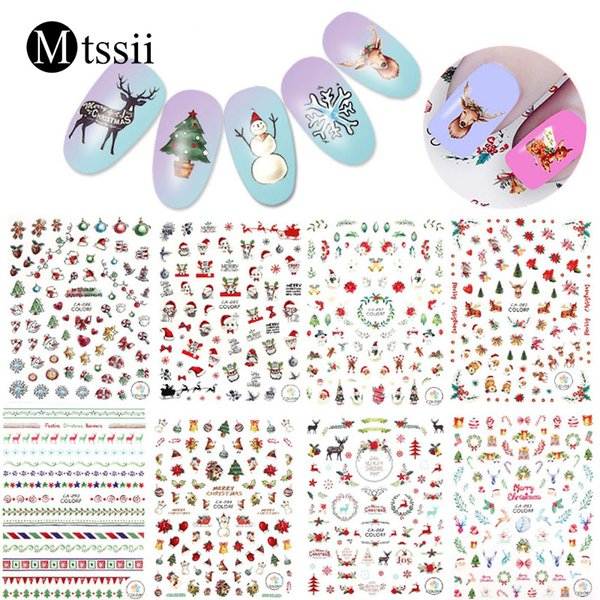 Mtssii Christmas 3D Nail Stickers Santa Claus/Ice Cream/Autumn/Beach Water Transfer Decals Decoration Slider For Nail DIY Tips