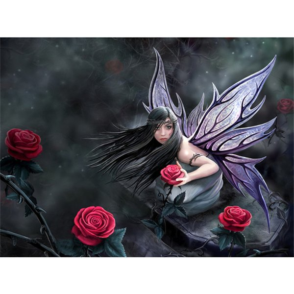 5d diy diamante pintura ponto cruz strass pintura diamante bordado home decor artesanato arte, rosa flor anjo