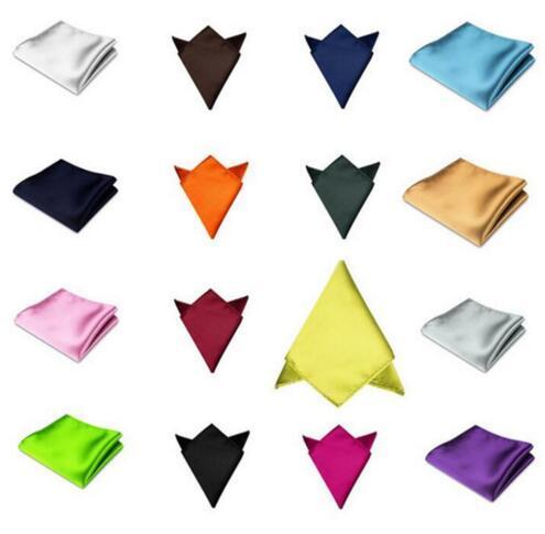 Mens Satin Solid Plain Color Handkerchief Wedding Party Hanky Pocket Square Handkerchief