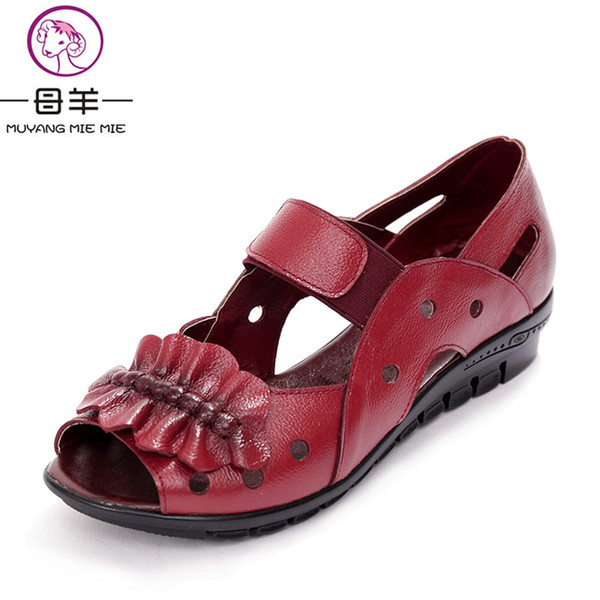 MUYANG MIE MIE Summer Women Shoes Woman Genuine Leather Flat Sandals Casual Open Toe Sandals Women