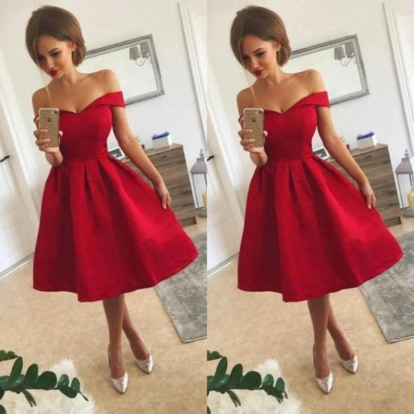 Sexy Off hombro barato 2018 rojo corto vestidos de regreso a casa una línea de té de longitud vestidos de cóctel vestido de fiesta