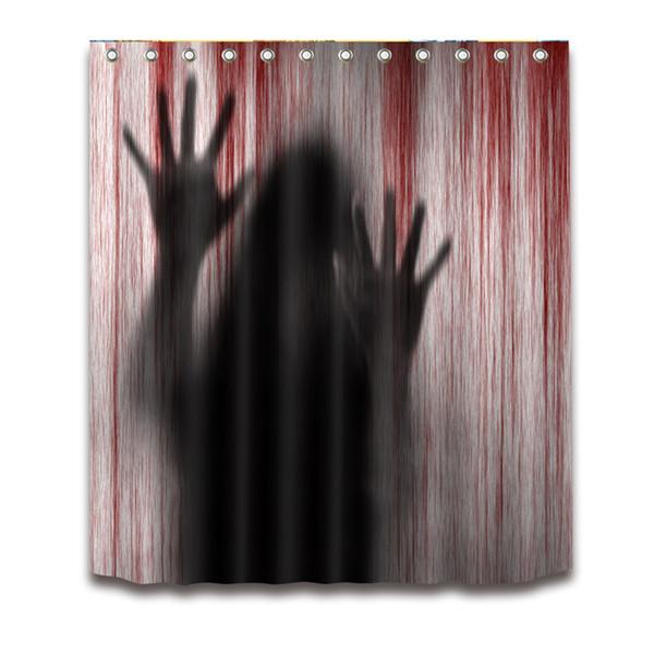 Shower Curtain 3D Printed Bloody Handprints Creepy Halloween Screen Bathroom For Hotel House Decor