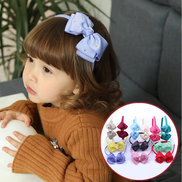Autumn girl bowknot headband 12 colors pick lovely princess sequins hair accessories batch sales DHL free delivery 80303